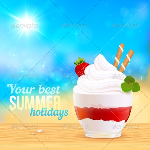 GraphicRiver Soft Creamy Ice-Cream Dessert on Sunny Beach 7192459