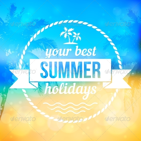 GraphicRiver Summer Tropical Beach Background with Badge 7192463