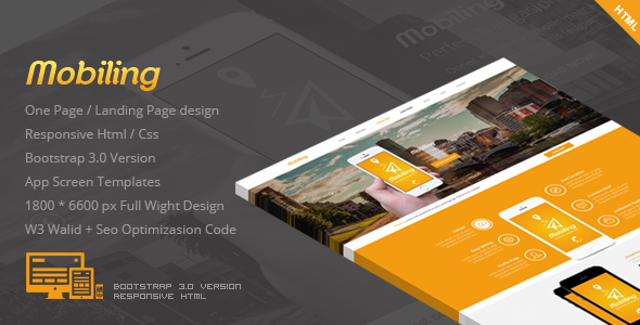 ThemeForest Mobiling One Page App Landing Page 7123531
