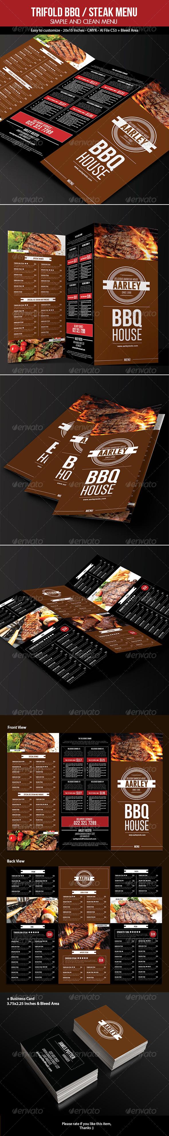 GraphicRiver Trifold BBQ Steak Menu & Business Card 7193576