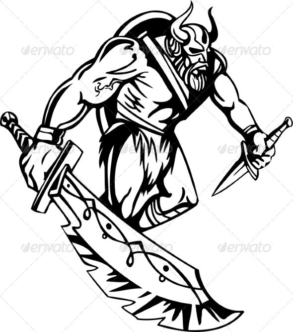 Nordic Viking Vector Illustration Vinyl-Ready