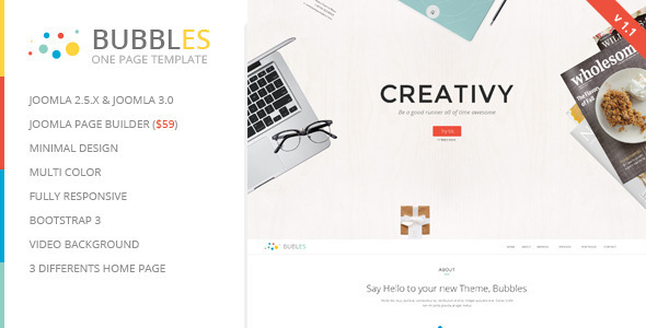 ThemeForest Bubbles Parallax One Page Joomla Template 7123379