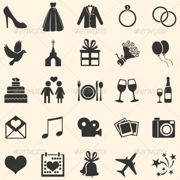 GraphicRiver Set of 25 Wedding Icons 7194517