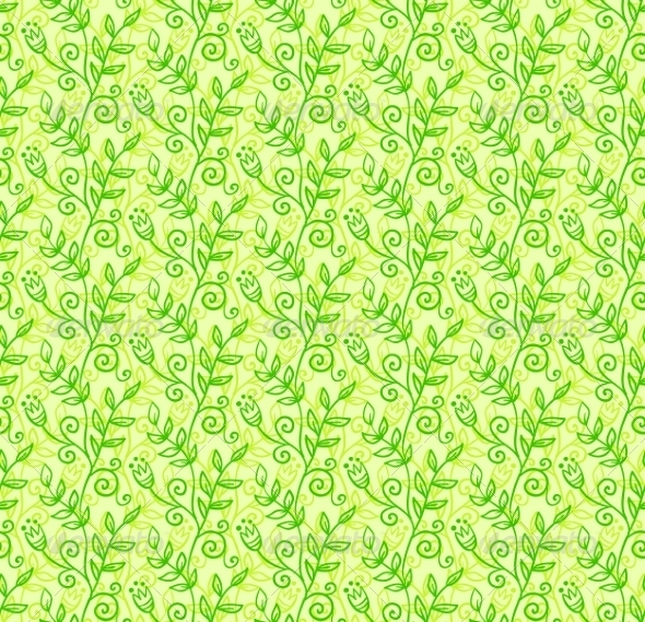 GraphicRiver Green Doodle Foliage Seamless Pattern 7194632