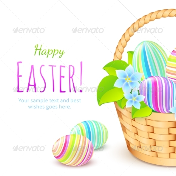 GraphicRiver Colorful Eggs in Basket Greeting Card Template 7195201