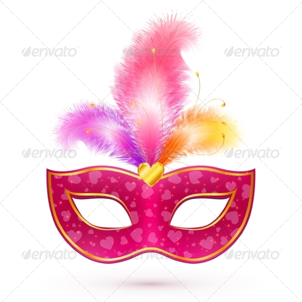 GraphicRiver Pink Carnival Mask with Feathers 7195206