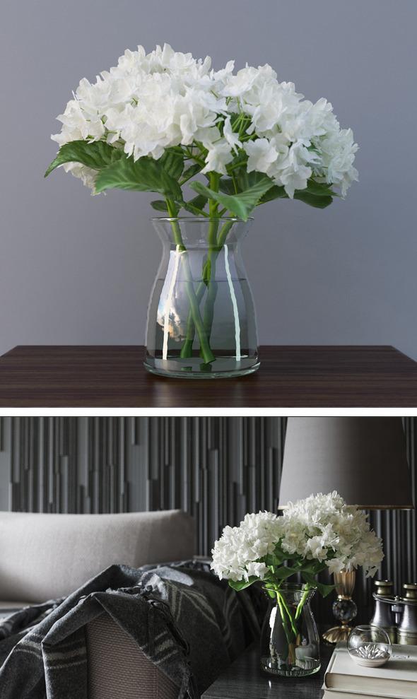 Hydrangea Flower In Vase 3D Model - 3DOcean Item for Sale