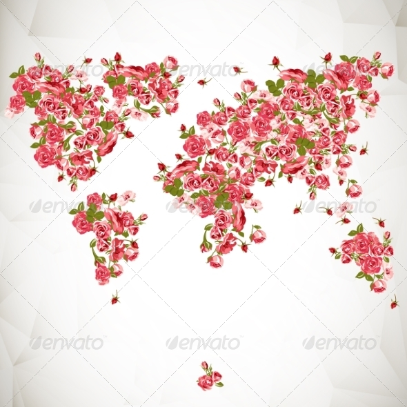 GraphicRiver Flower World Map Eco Abstract Background 7196499