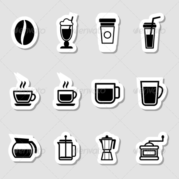 GraphicRiver Coffee Drinks Icons as Labels 7196697