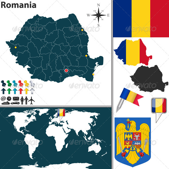 GraphicRiver Map of Romania 7196850