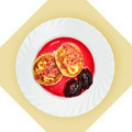 Dish of pancakes with cherry sause on white plate. - PhotoDune Item for Sale