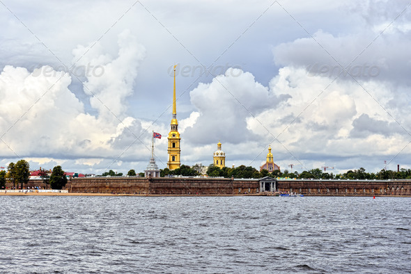 Fortness of St. Peter and Pavel and river Neva in St-Petersburg, Russia - Stock Photo - Images