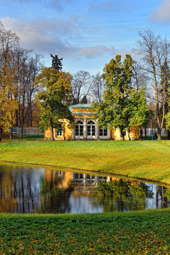 "Landscape with ""Evening Hall"" pavilion in Pushkin. - Stock Photo - Images"
