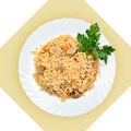 Dish of fried rice with meat(pilaf) on white plate - PhotoDune Item for Sale