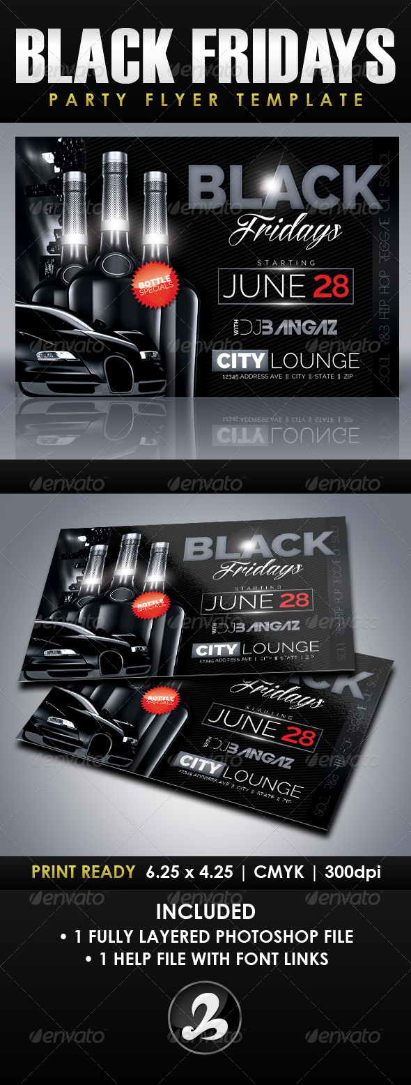 GraphicRiver Black Fridays Party Flyer Template 7164034