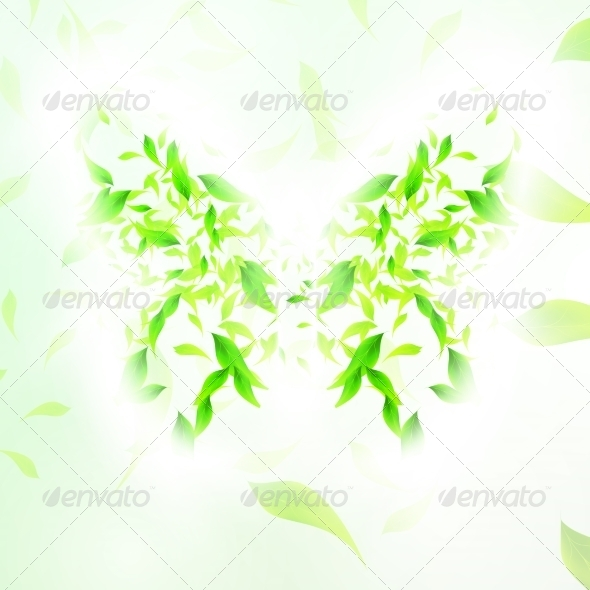 GraphicRiver Leaves Form a Butterfly Abstract Shape 7198300
