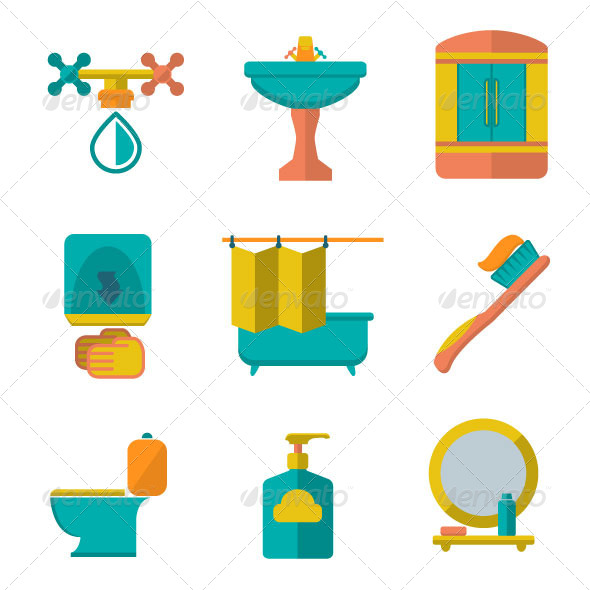 GraphicRiver Set Flat Icons of Bathroom and Toilet 7166368