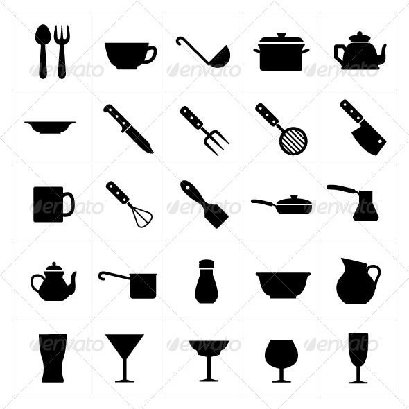 GraphicRiver Set Icons of Dishware and Kitchen Accessories 7198942