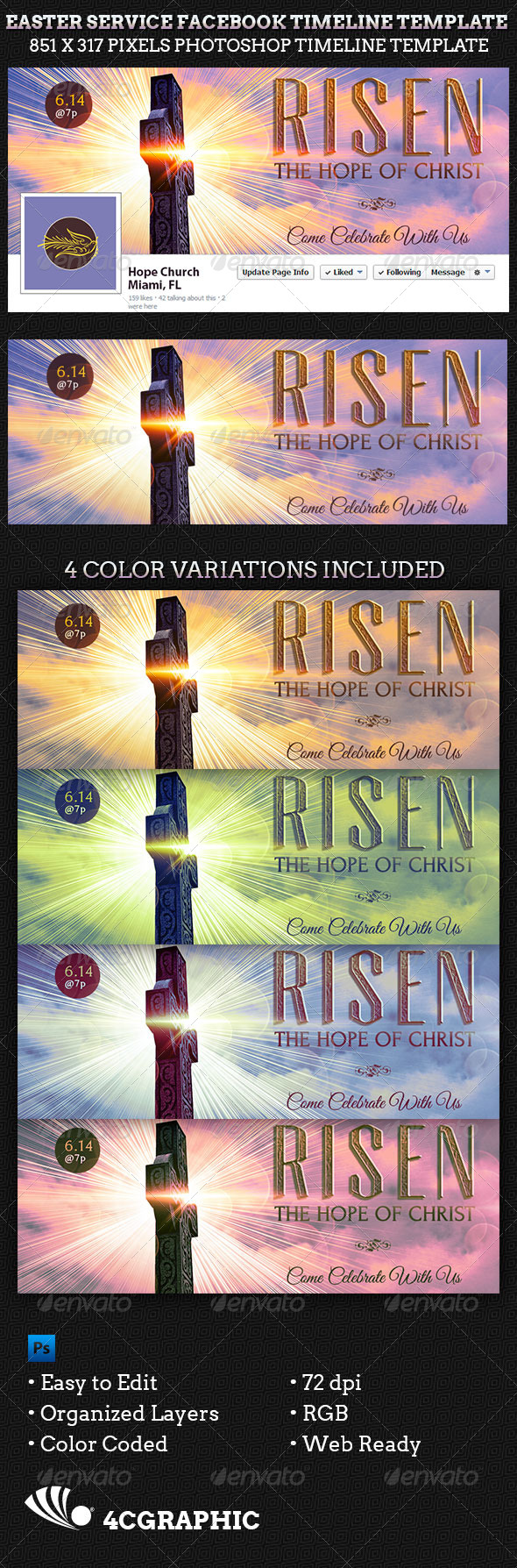 GraphicRiver Easter Service Facebook Timeline Cover Template 7199038