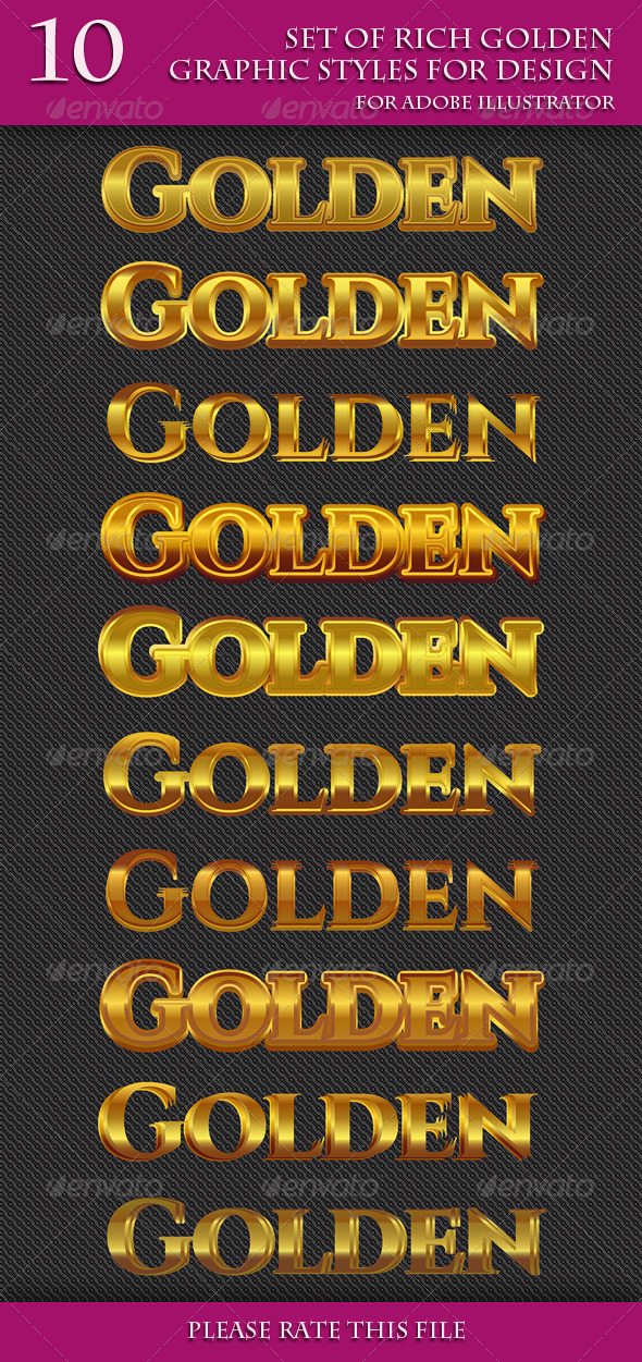GraphicRiver Set of Rich Golden Graphic Styles for Design 7199088