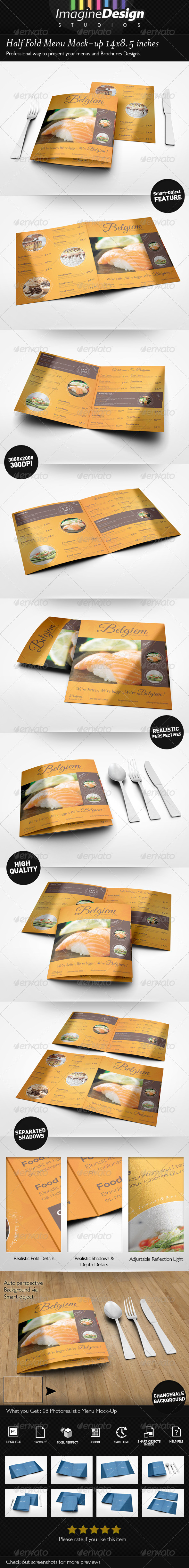 Half Fold Menu Mock-up 14x8.5 inches - Print Product Mock-Ups