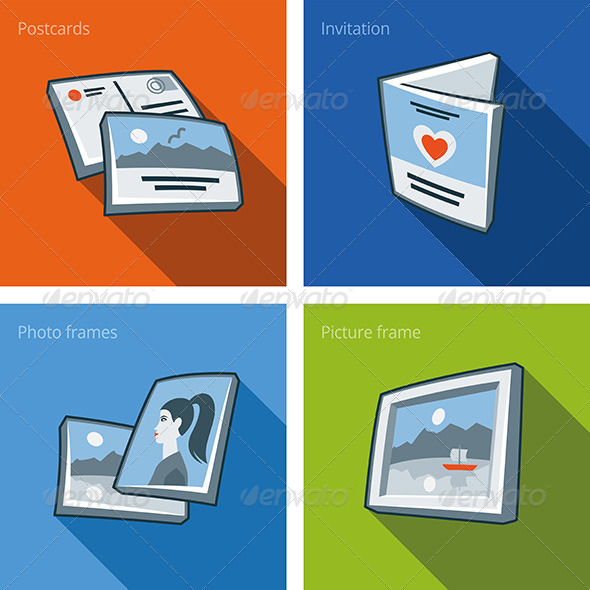 GraphicRiver Printouts Icon Set of Postcard Invitation and Photo 7199212