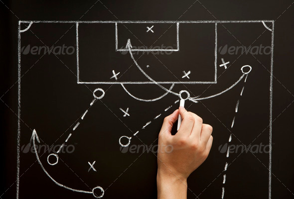 PhotoDune Man Drawing a Soccer Game Strategy 757276