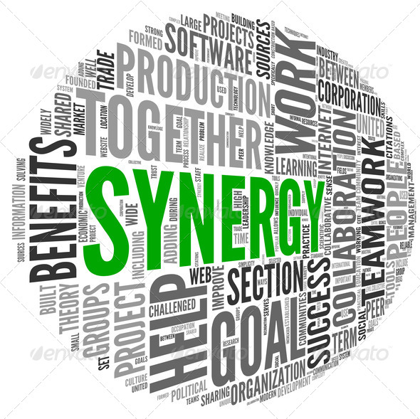 Synergy concept in word tag cloud - Stock Photo - Images