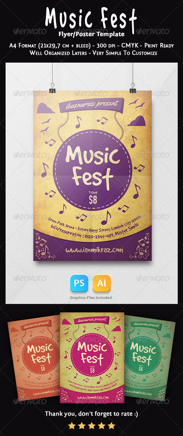 Music Fest Flyer Template - Concerts Events
