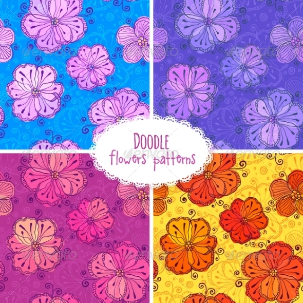 GraphicRiver Hand Drawn Flower Seamless Patterns Set 7200995