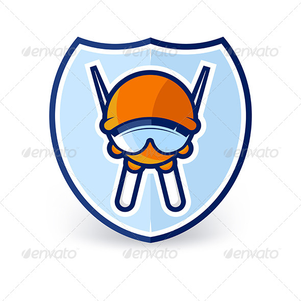 GraphicRiver Cartoon Ski Character Label 7201006