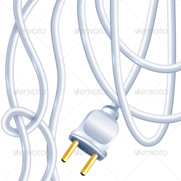 GraphicRiver White Electric Plug and Cables 7201290