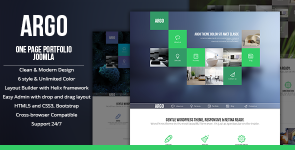 ThemeForest Argo OnePage Bootstrap Metro UI Joomla template 7141587