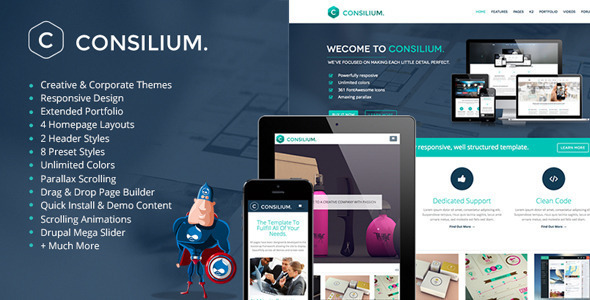 ThemeForest Consilium Multipurpose Creative Drupal Theme 7142746
