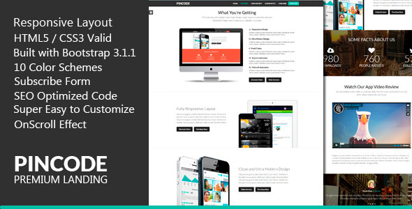 ThemeForest PinCode Premium Landing Page HTML5 Template 7119164