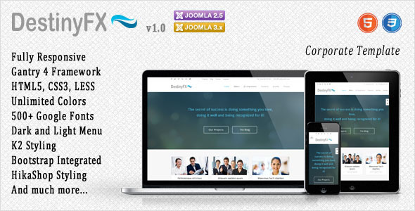 ThemeForest DestinyFX Responsive Joomla Template 7137155