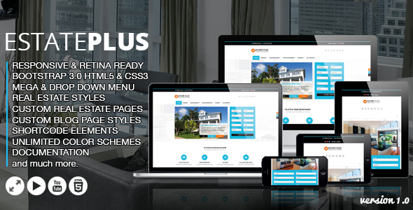 Full Site Templates - Estate Plus - <p>Real Estate HTML5 Website Template </p>