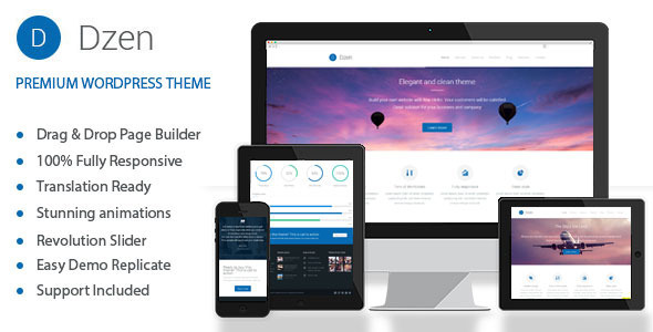 ThemeForest Dzen Multipurpose Business Parallax WP Theme 7155400