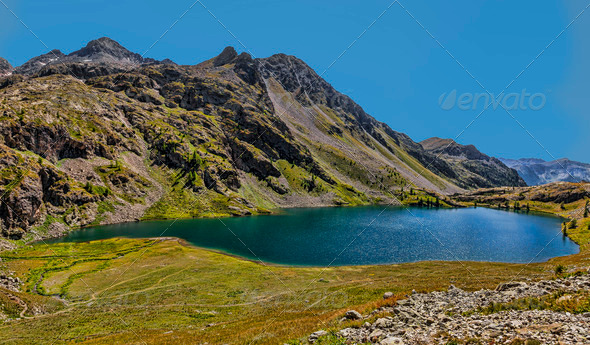 Grand Lac from Lacs de Vens  - Stock Photo - Images
