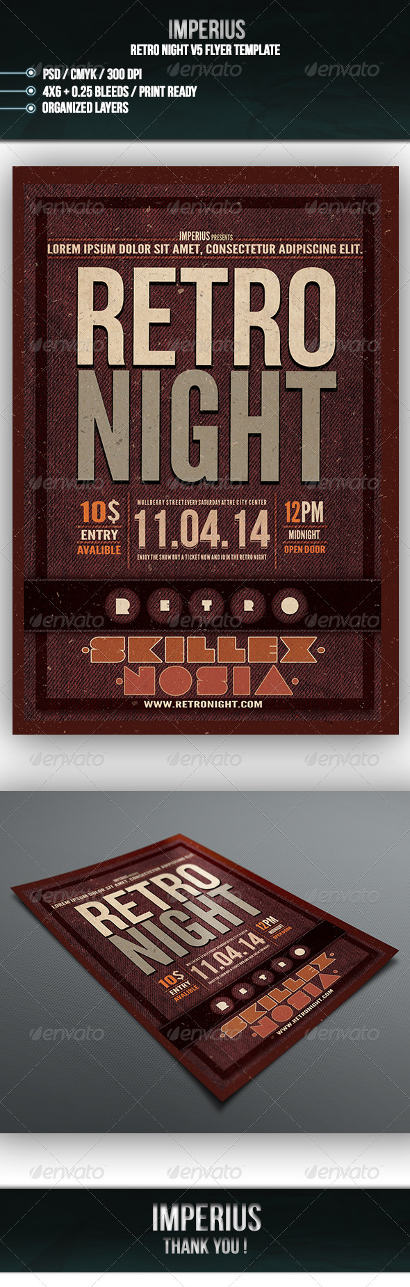 Retro Night V5 - Flyers Print Templates