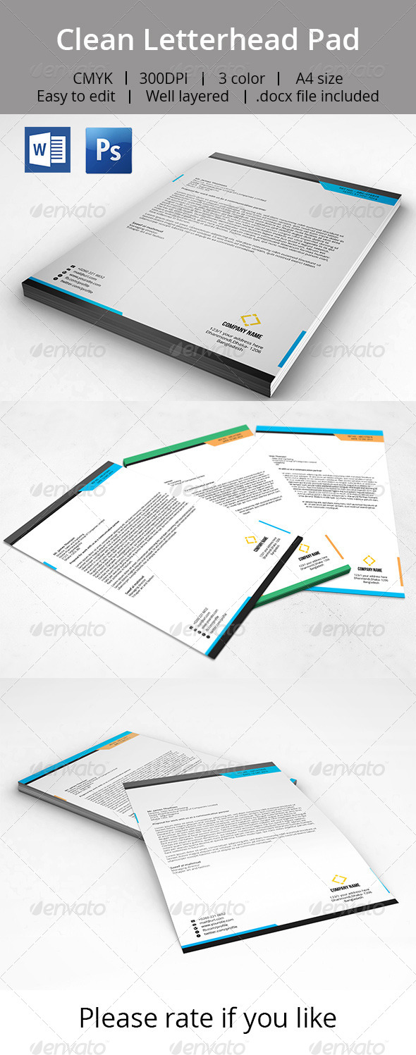 GraphicRiver Clean Letterhead Pad With MS Word Doc 7164941
