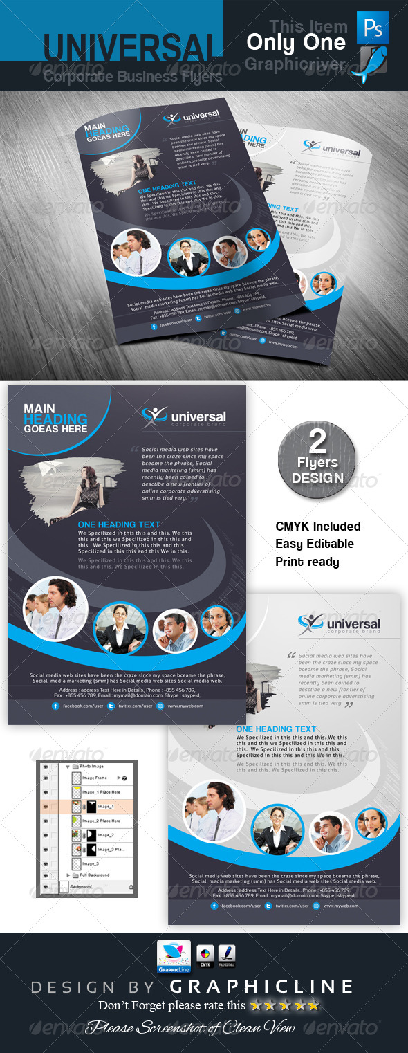 GraphicRiver Universal Corporate Business Flyers Adds 7169062