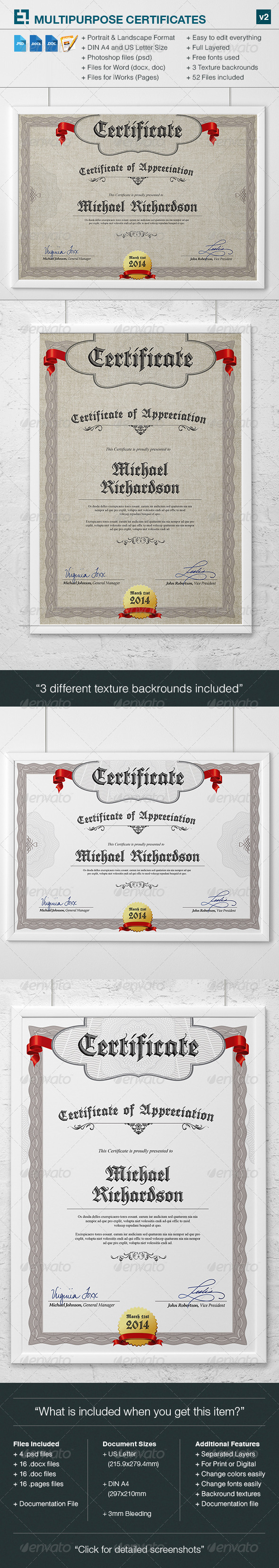 Multipurpose Certificates v2