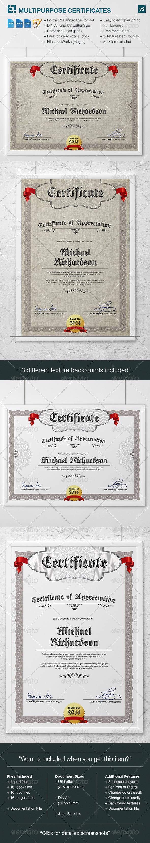 GraphicRiver Multipurpose Certificates v2 7204951