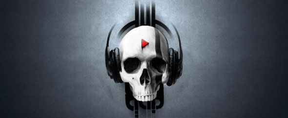 Skull with headphones facebook cover timeline banner for fb