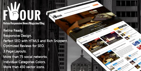 ThemeForest Four Responsive Retina HTML News Magazine Blog 7156494