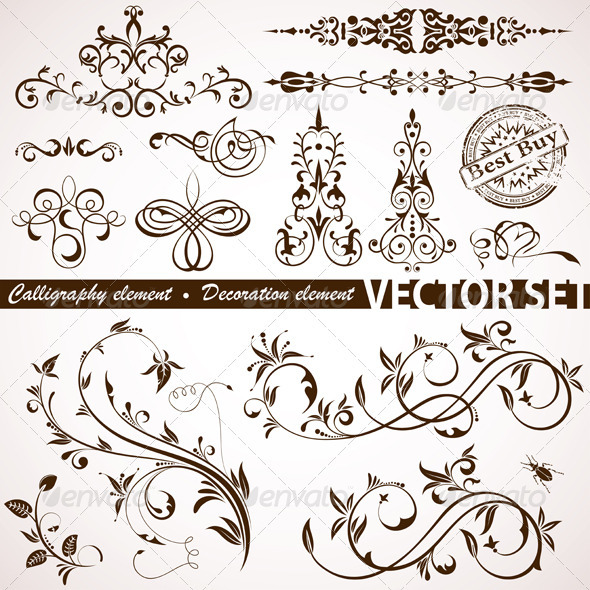Calligraphic and floral element graphicriver