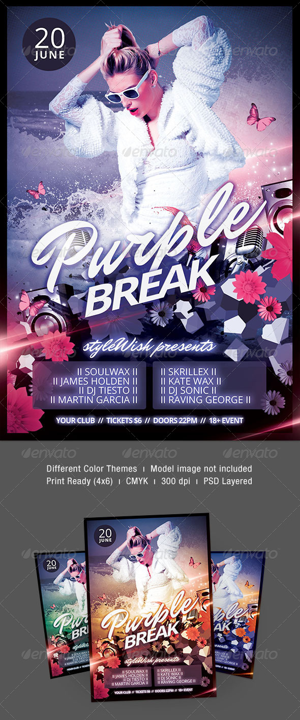 Purple Break Flyer - Clubs & Parties Events