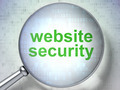 SEO web development concept: Website Security with optical glass