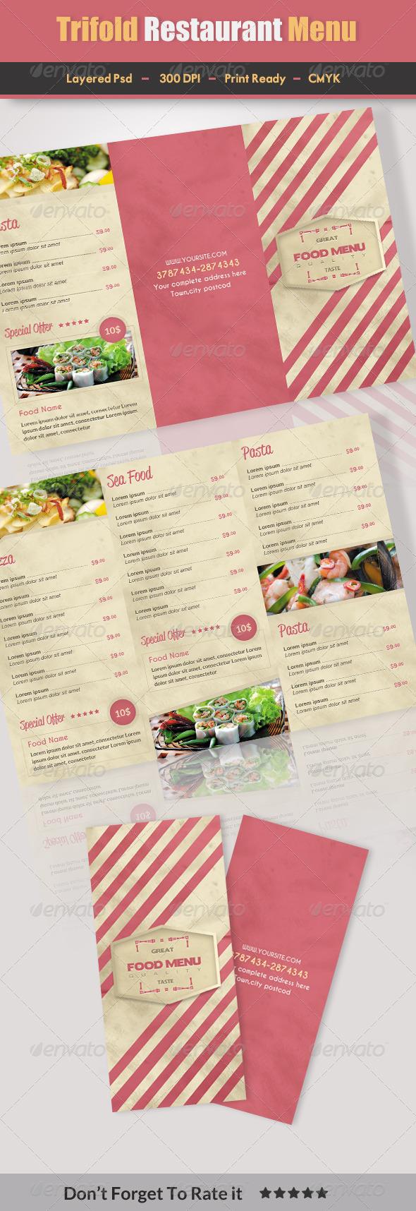 Trifold Restaurant Menu 2